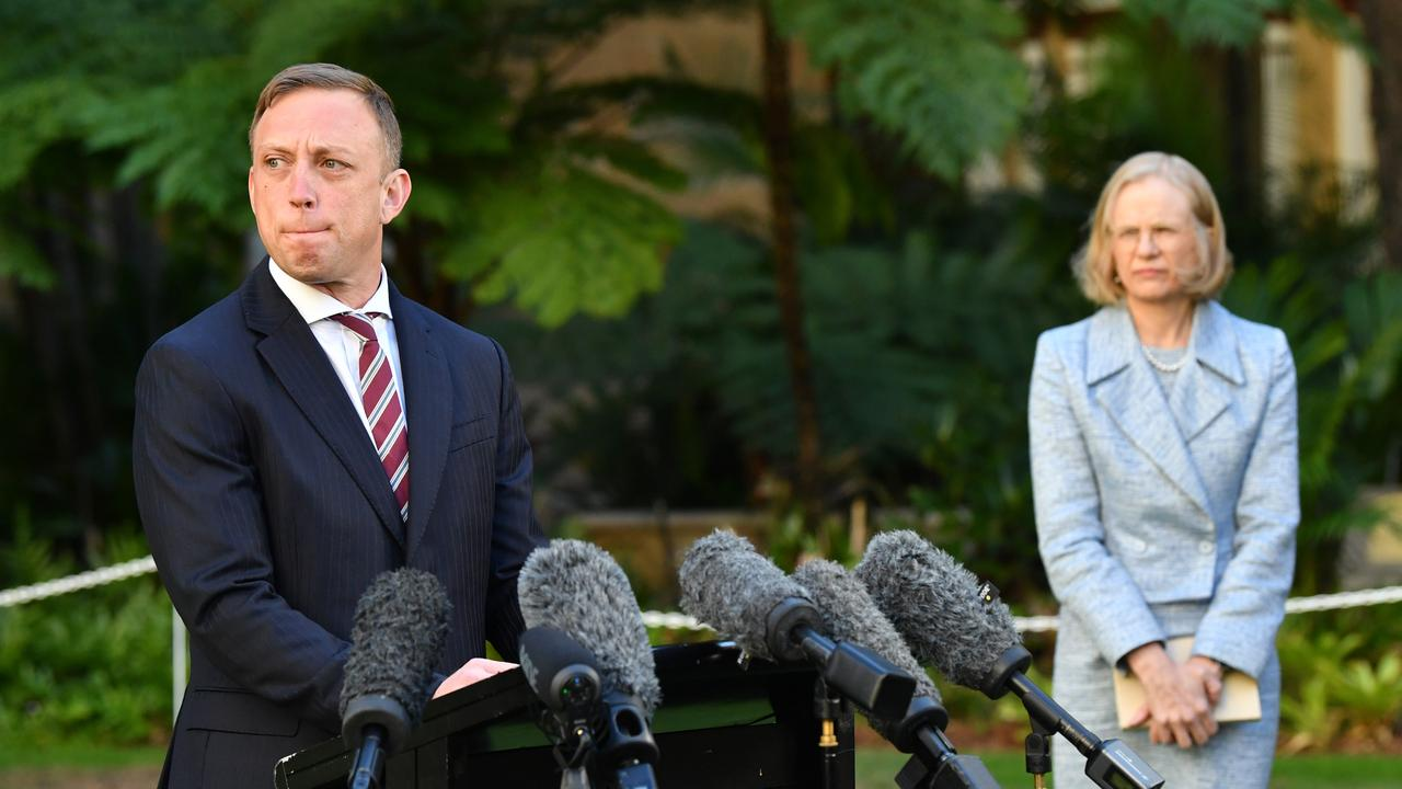Queensland Deputy Premier Steven Miles and Chief Health Officer Dr Jeannette Young addressing media amid growing anger over the handling of Blackwater's suspected COVID-19 case. AAP Image/Darren England