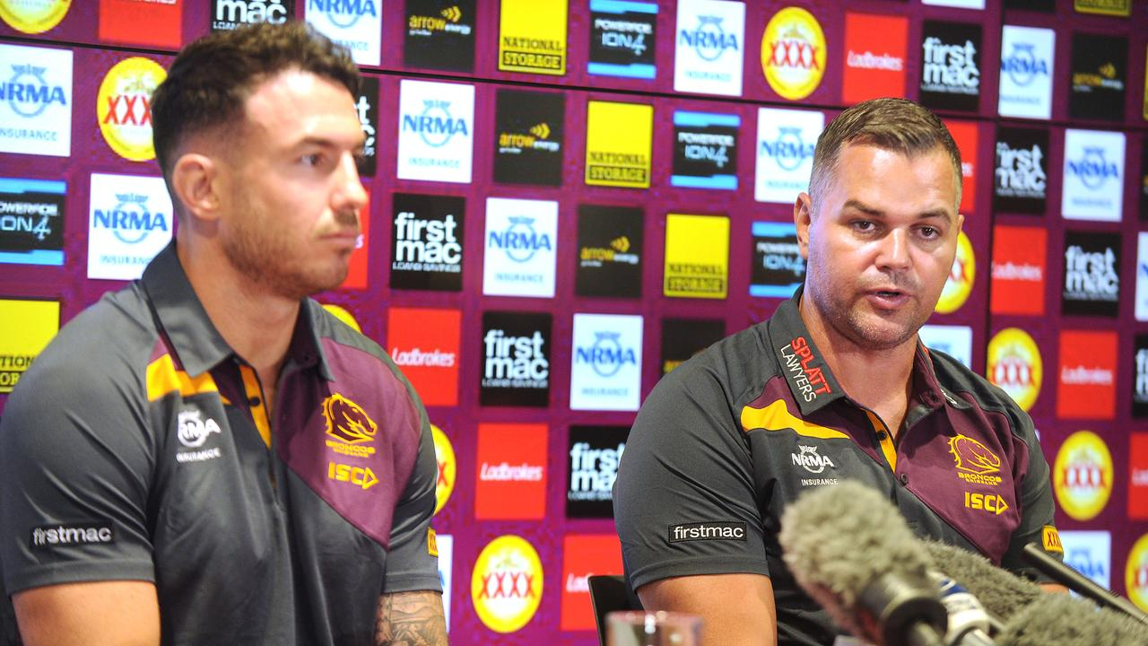 New Brisbane Bronco's coach Anthony Seibold with Darius Boyd at the press conference at the Clive Berghofer centre after the termination of Wayne Bennett's contract. Monday December 3, 2018. (AAP image, John Gass)