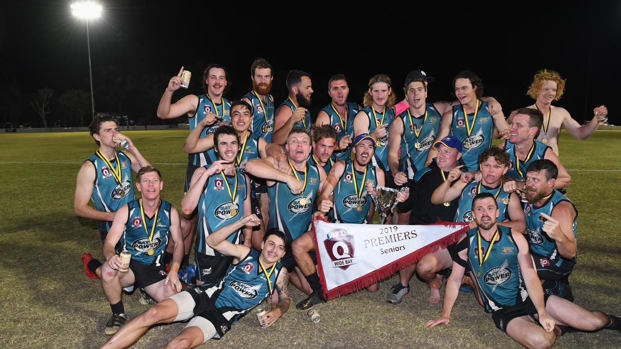 Wide Bay AFL Grand Final - Bay Power v Bombers. Bay Power celebrates their historic win.