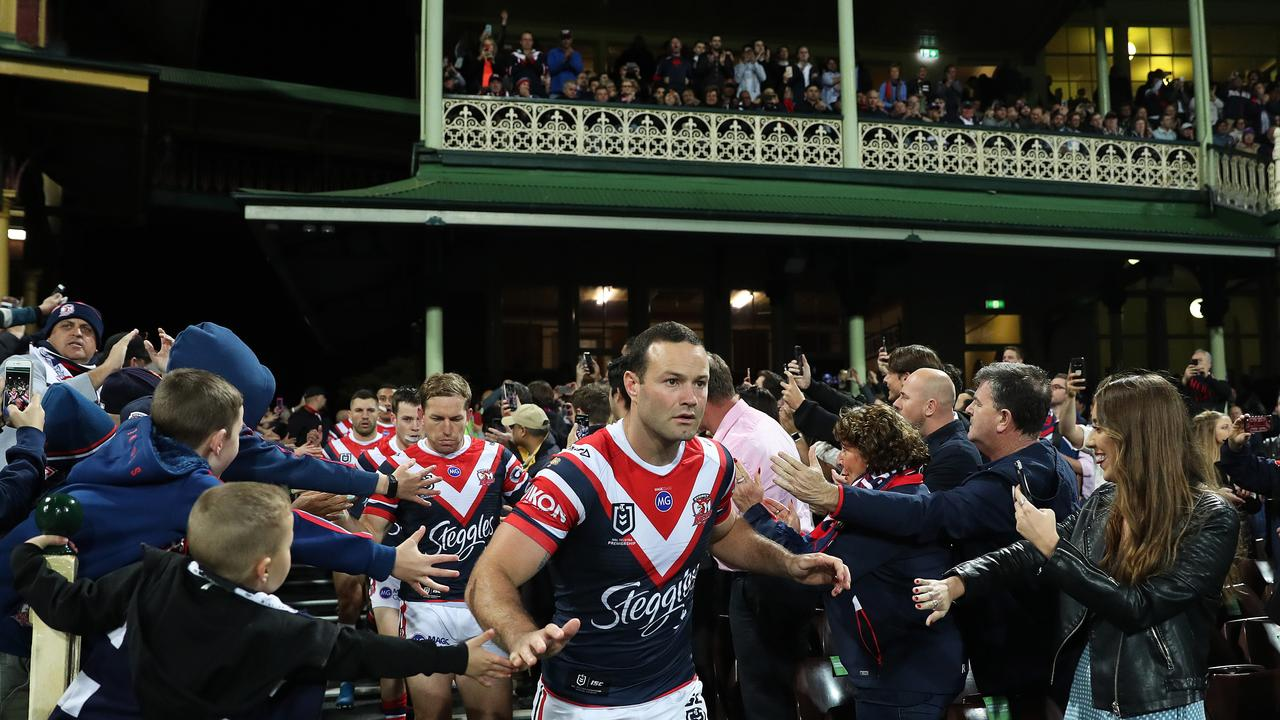 Roosters Boyd Cordner enters the field for the Sydney Roosters v Melbourne Storm NRL Preliminary Final at the SCG. Picture: Brett Costello