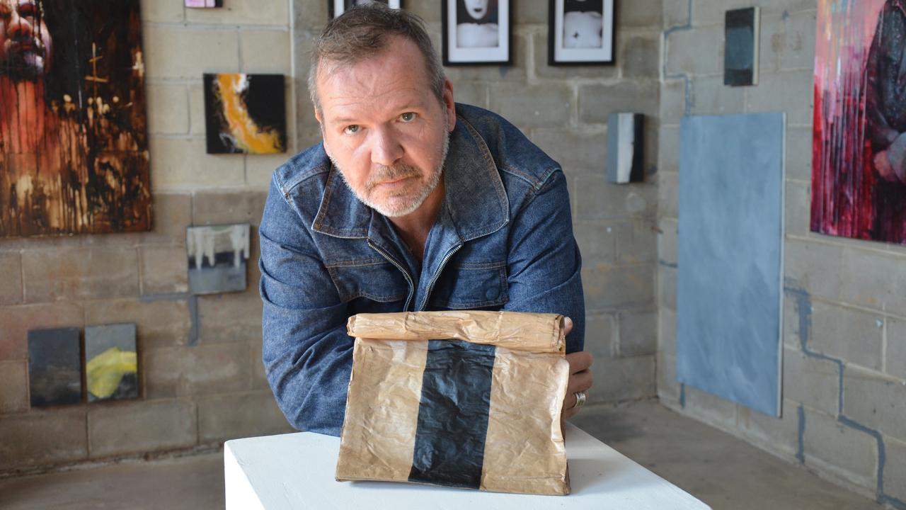 Clinton Cross from the Cross Gallery has started receiving entries for his next award show, The Art of the Paper Bag (artwork by Terri Brooks).