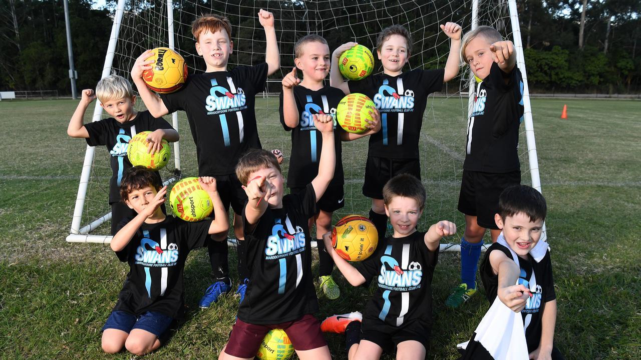 The U/8 Goannas from Maroochydore Football Club ready to get back on the field. PHOTO: Warren Lynam