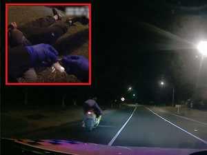 WATCH: Alleged hoon's hilarious 'getaway' fail