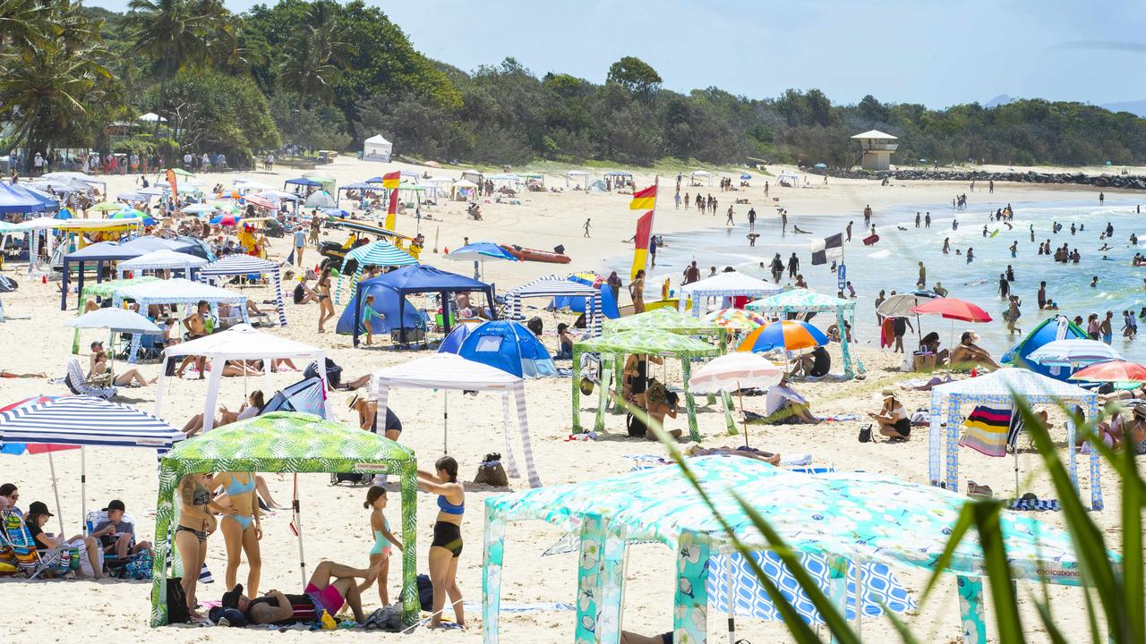 Beachgoers at Noosa on Australia Day this year. Photo: Lachie Millard