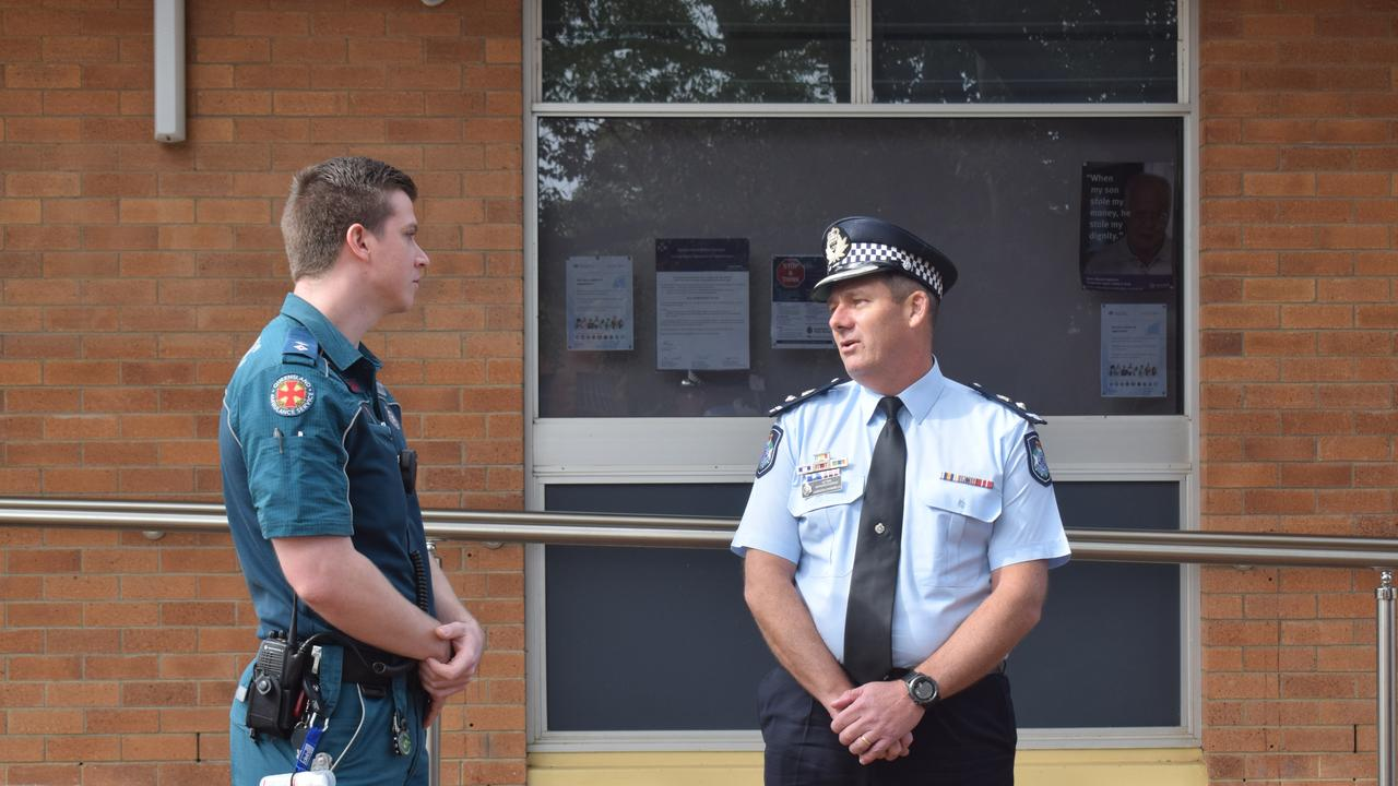 TRAGEDY: Officer in Charge of Miles Ambulance Station Bryce Williams and District Superintendent for the South West Gareth Channells. Pic: Peta McEachern