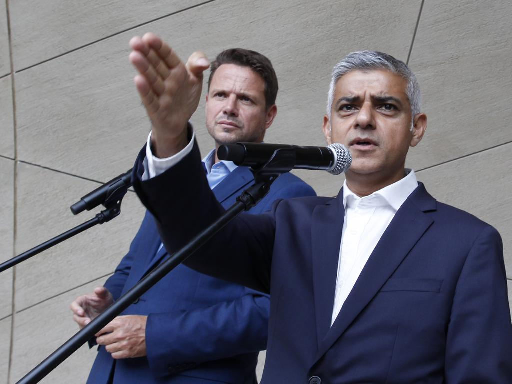 "London Mayor Sadiq Khan, right, says removing statues of plantation owners and slave traders is ""clear cut"". Picture: AP Photo/Czarek Sokolowski"
