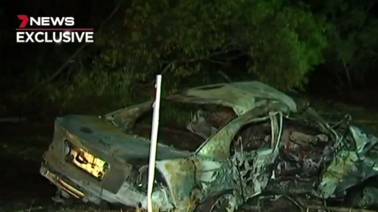 TRIPLE TRAGEDY: The horror scenes at the crash on Chinchilla Tara Rd. Photo: 7 News