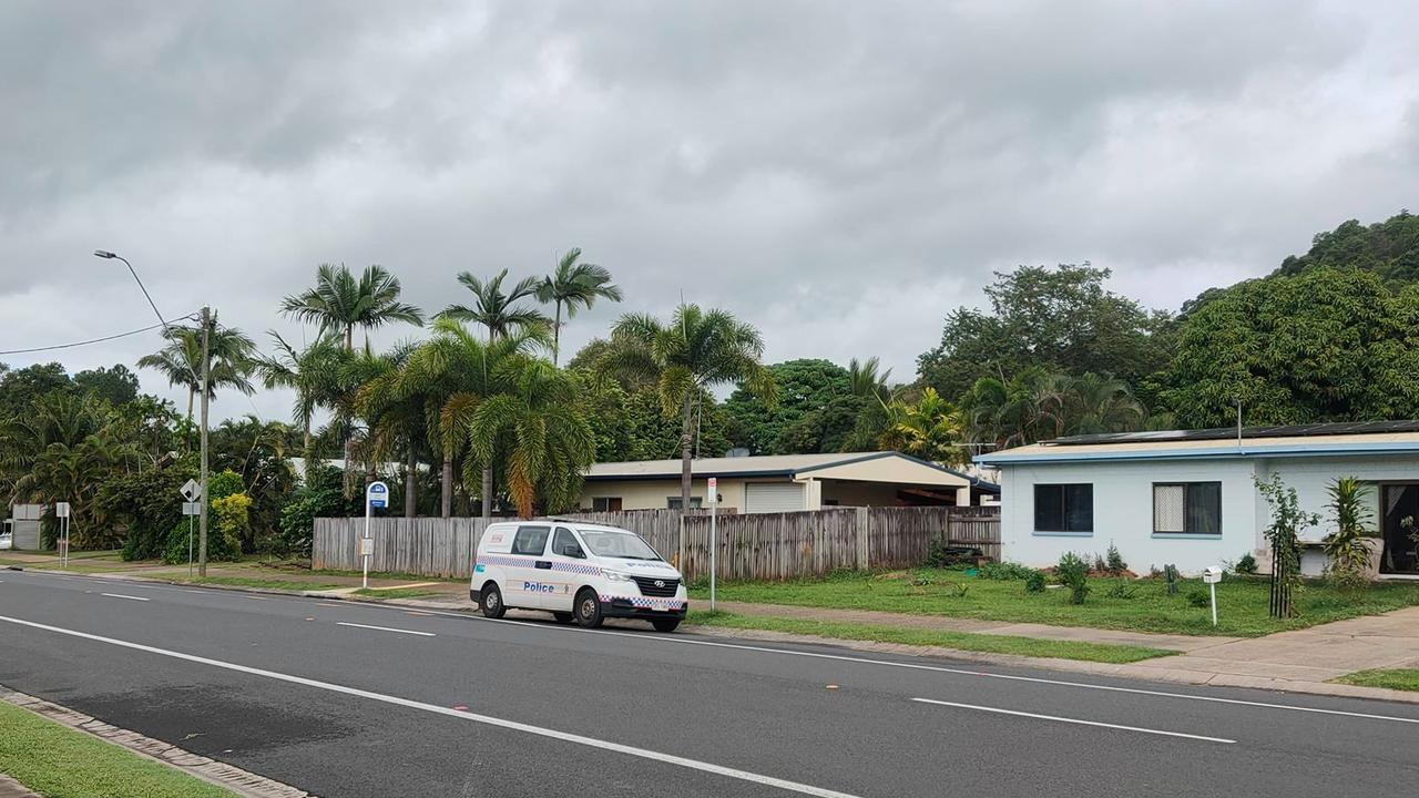A police car in Woree, where police are investigating a suspicious death.