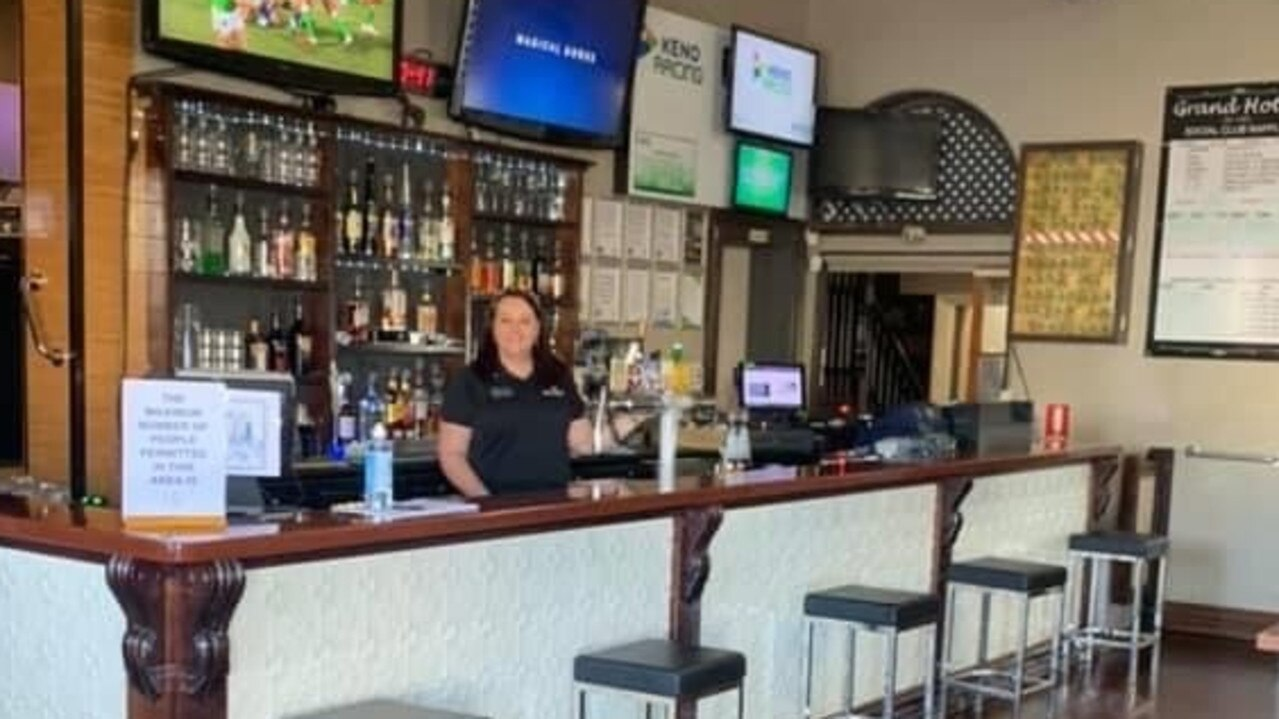 Manager Melissa Chandler stands in the bar of Grand Hotel in Mt Morgan which is now open to the public.