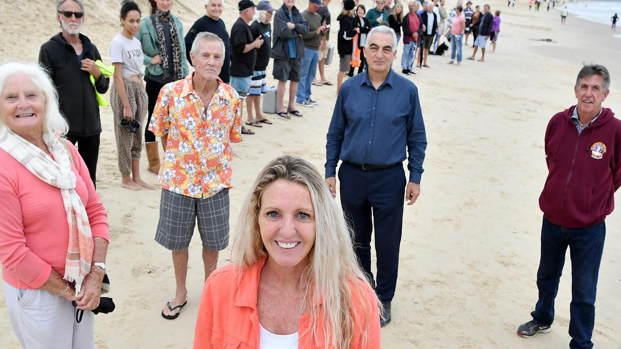 Sunshine Coast community protesting the Mooloolaba to Maroochydore cycleway. Pictured, Rachael Bermingham. Photo Patrick Woods / Sunshine Coast Daily.
