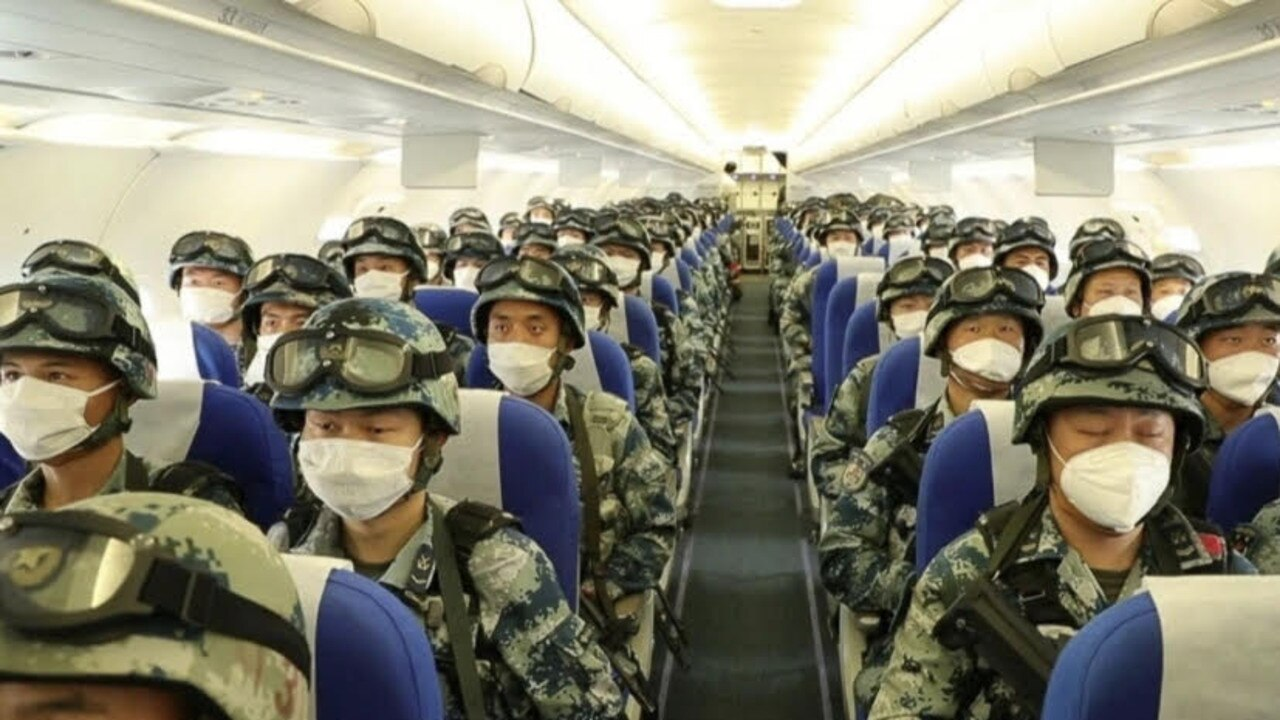 Chinese state media has shown images of a civilian plane full of troops as part of a drill that coincided with an ongoing border conflict with India. Picture: Weibo/CCTV