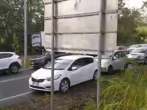 Traffic from Woombye three-car crash