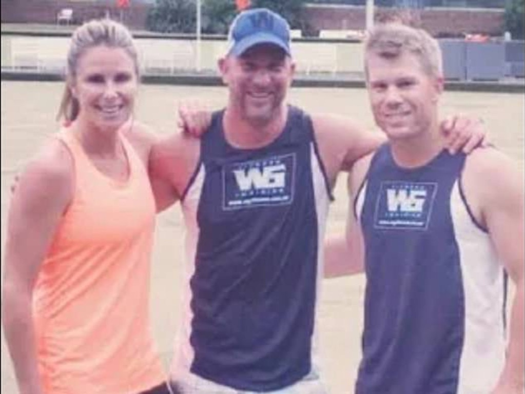 Geber with David and Candice Warner.