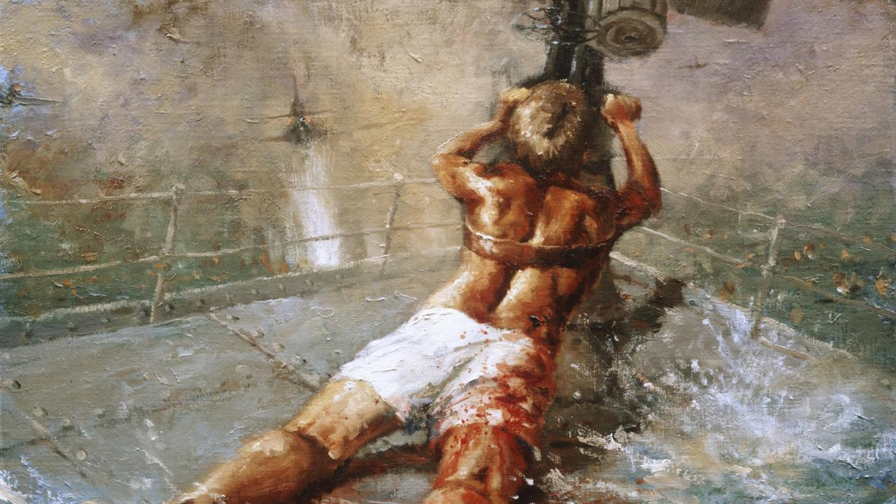Dale Marsh's painting of Teddy Sheean, who strapped himself to his gun and fired until the HMAS Armadale sank. Picture: AUSTRALIAN WAR MEMORIAL