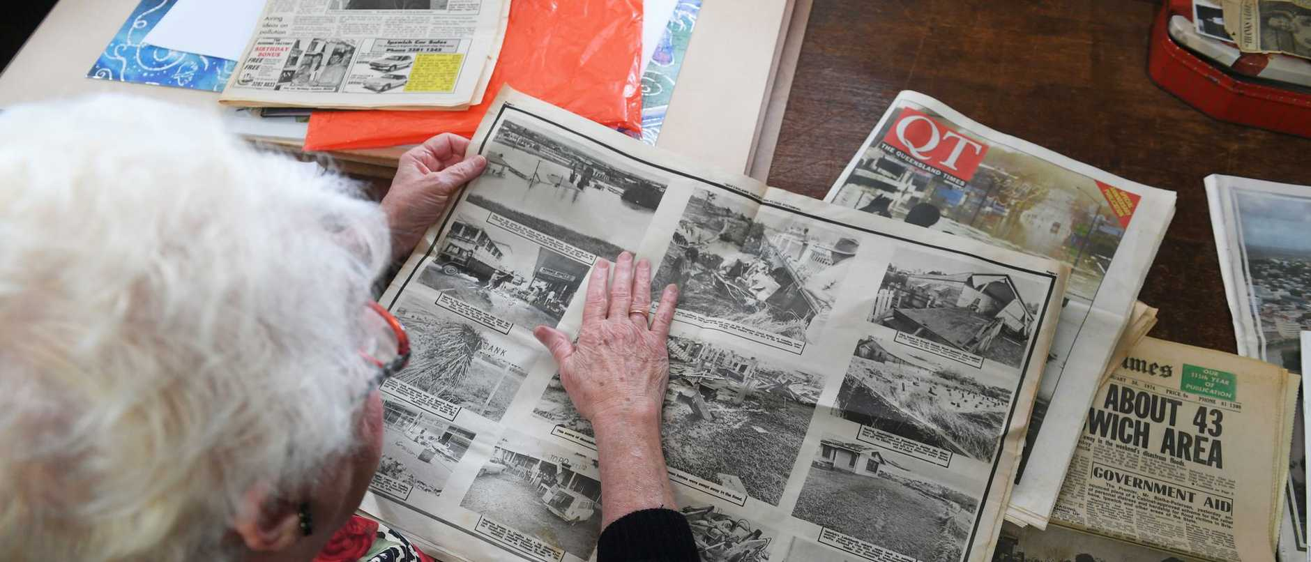 Desley Cronon talks about The Queensland Times and shares some old newspapers she has kept from the 1974 floods.