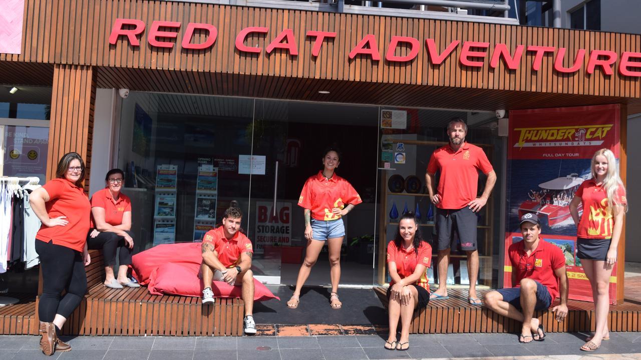 The Red Cat Adventures team. From left: Kerstin Altmann, Rebecca Crane, Jayden Popenko, JJ Johnsen, Julie Telford, Mark Huston, Chris Leverington and Tayla Johannesen.