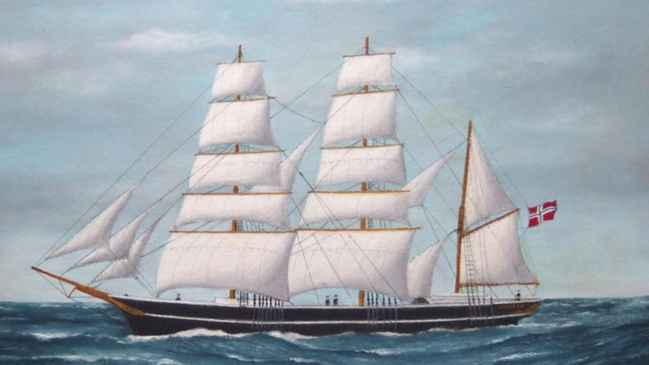 THE ARIADNE? A three masted barque, square rigged fore and main and mizzen rigged fore and aft.