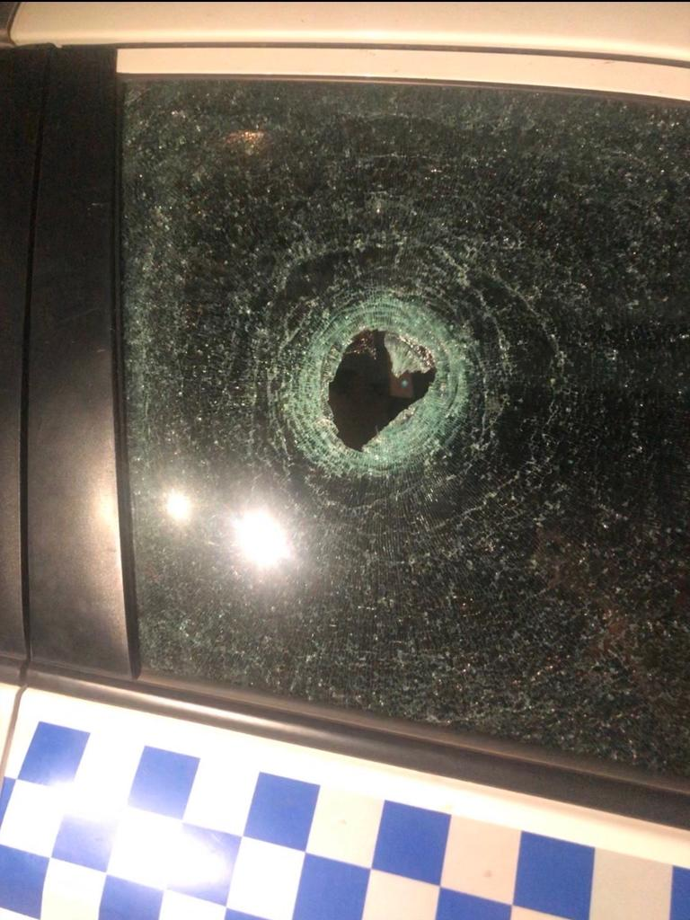 The damage to the police vehicle when a rock was thrown at it during a patrol in Moree overnight. Picture: Supplied
