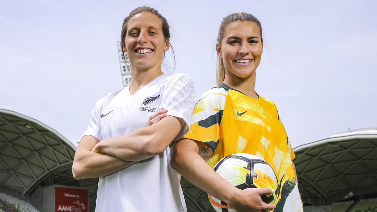 New Zealand's Rebekah Stott and Matildas star Stephanie Catley at the announcement of Australia & New Zealand's joint bid to host the FIFA Women's 2023 World Cup. Picture: Getty Images