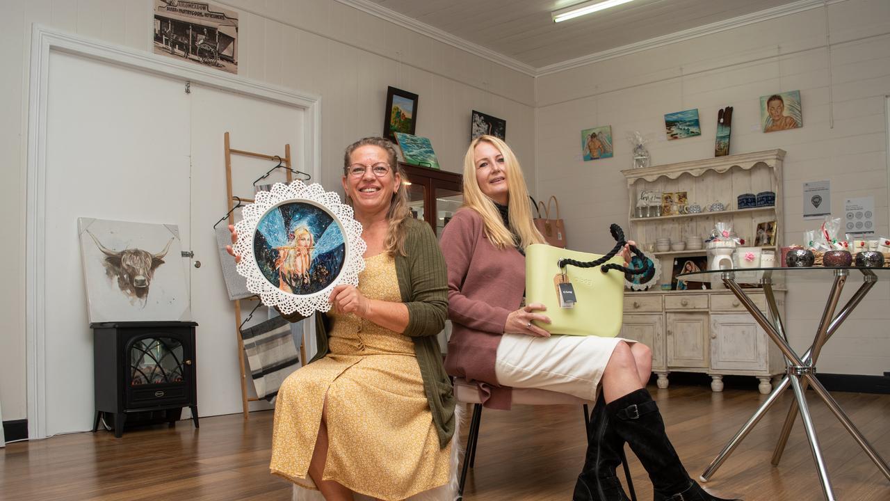 Deb Morgan showcases some of her artwork at Tracey Jones' new Toogoolawah shop, Tracey Jones Bouqitue. PHOTO: ALI KUCHEL