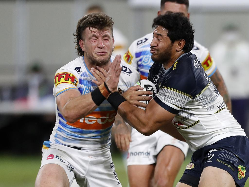 Jai Arrow clashes with Jason Taumalolo. Picture: AAP/Cameron Laird