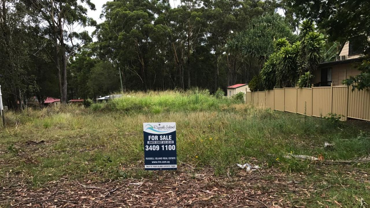 Blocks of residential land, like this one on Russell Island purchased privately by radio personality Jess Eva and her husband Norm, will be sold by Redland City Council.