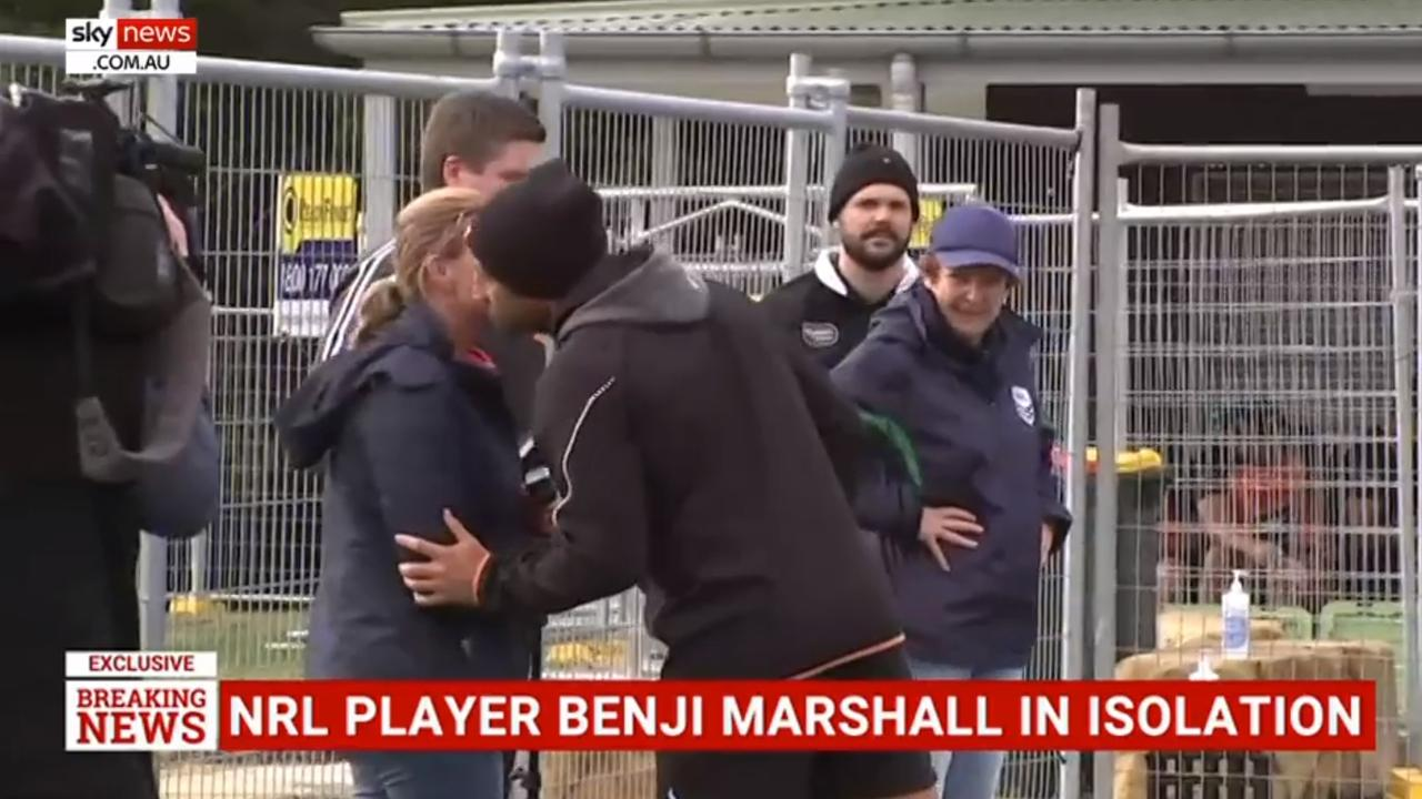 Benji Marshall kisses TV report Michelle Bishop on the cheek. Picture: Sky News