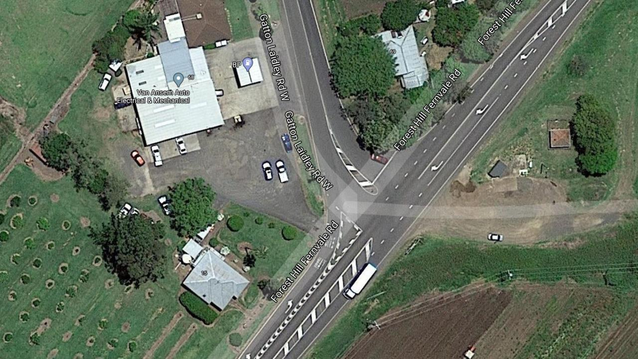 The Forest Hill Fernvale Road and Gatton-Laidley Road intersection. PHOTO: GOOGLE MAPS.