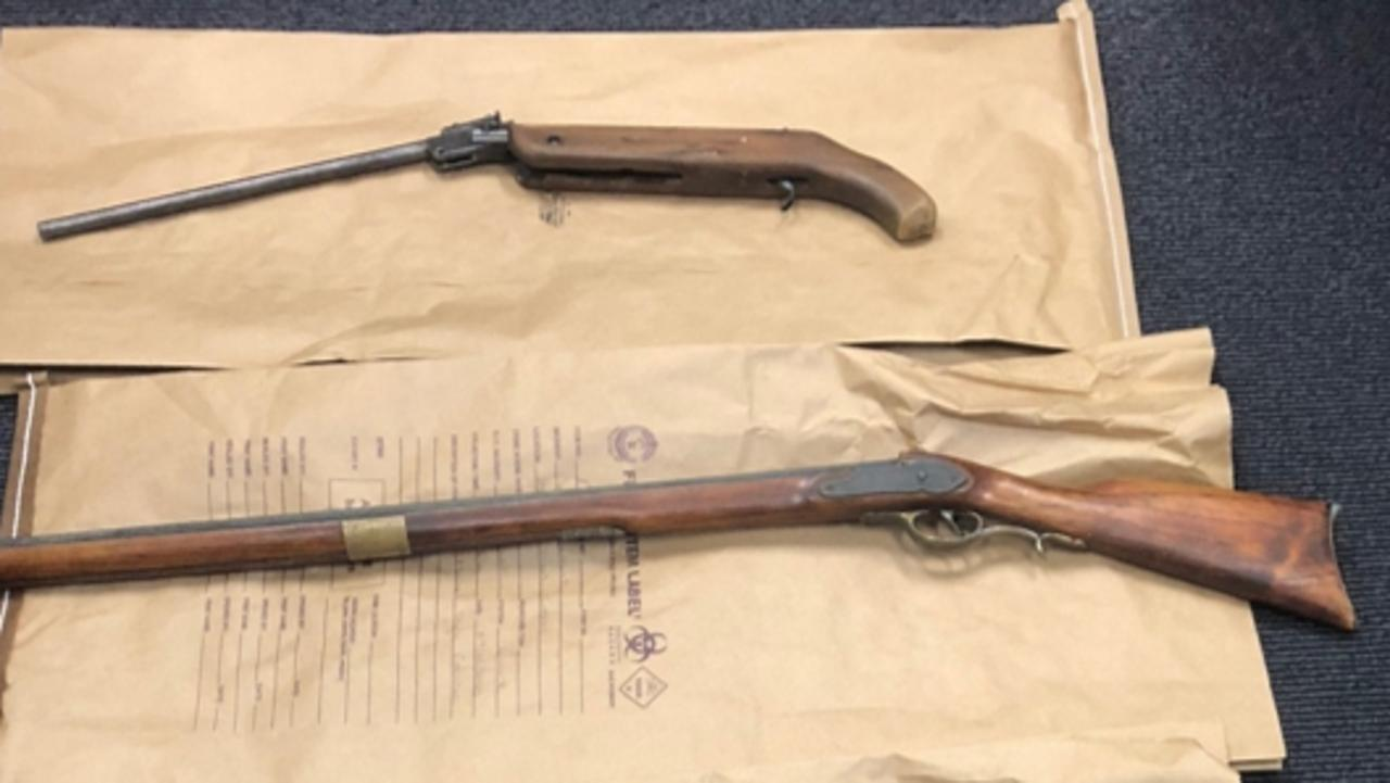 Firearms seized from a Coraki home yesterday.