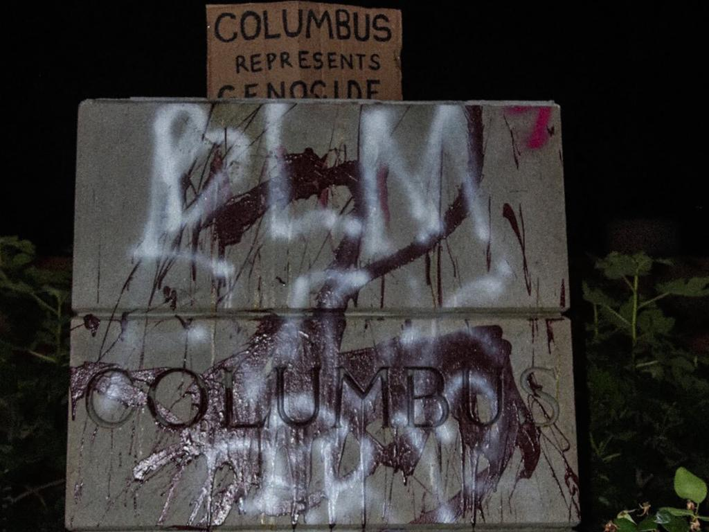 The defaced pedestal where a statue of Christopher Columbus once stood. Picture: AP