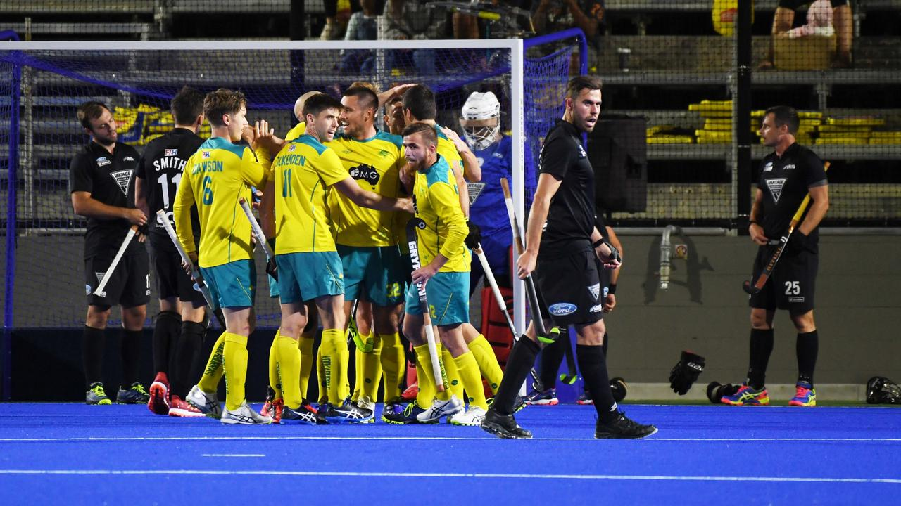 BIG HIT: The Australian men celebrate a goal during play in the 2019 Oceania Cup, which was successfully staged by the Rockhampton Hockey Association in September. Picture: Allan Reinikka.