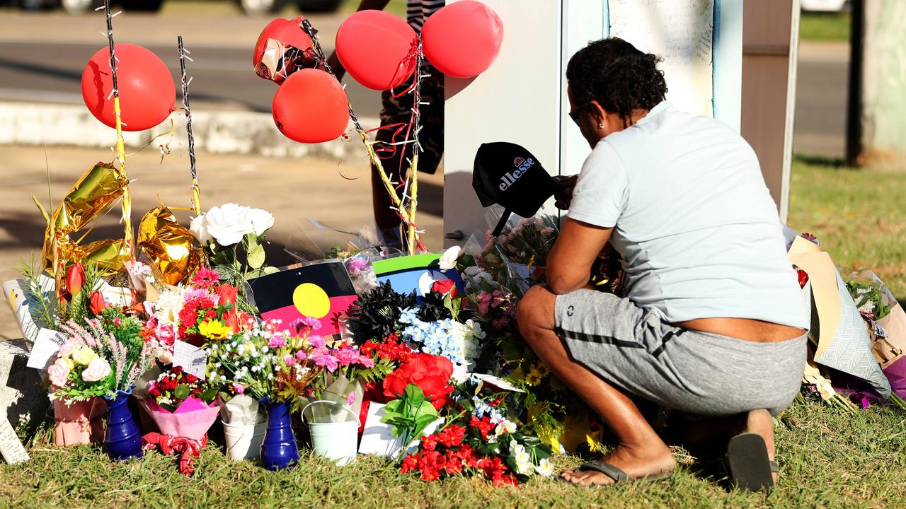 Memorial for the four teenagers killed in a roadside crashat Bayswater Rd and Duckworth St. Picture: Alix Sweeney