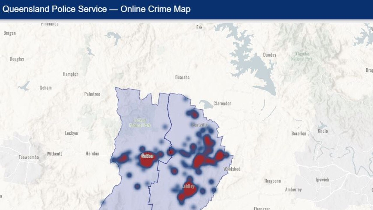 CRIME SITES: Map showing crime hot spots in the Gatton and Laidley police districts from June 2019 to May 2020.