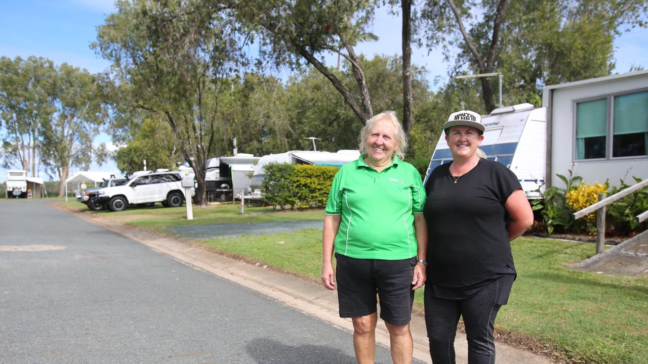 Manager of Proserpine Tourist park Shirley Long and employee Tania Hededus have welcomed more visitors to the region since restrictions eased.