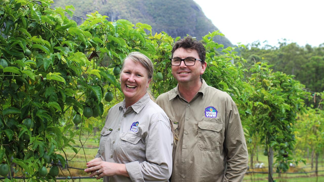 Jane and John Richter of Vines with a View in the Glass House Mountains say local growers need more support than ever after a harsh summer. Photo: GROWCOM