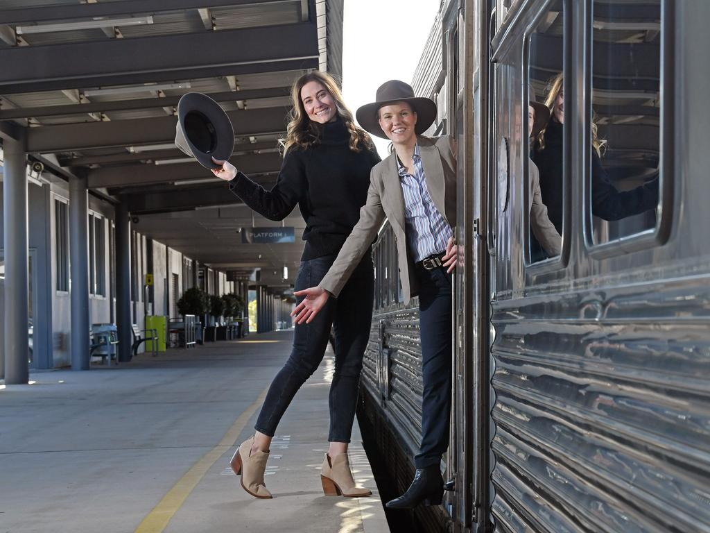 Business SA's Lisa Andrews and Great Southern Rail's Stacey Chau at the Adelaide rail terminal on Wednesday. They are calling for the NT-SA border to reopen so The Ghan can resume service. Picture: Tom Huntley