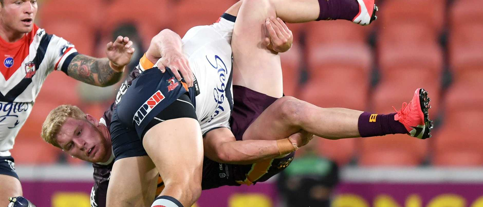 2020 NRL Round 04 - Victor Radley on Thomas Flegler. Brisbane Broncos v Sydney Roosters, Suncorp Stadium, 2020-06-04. Digital image by Scott Davis � NRL Photos