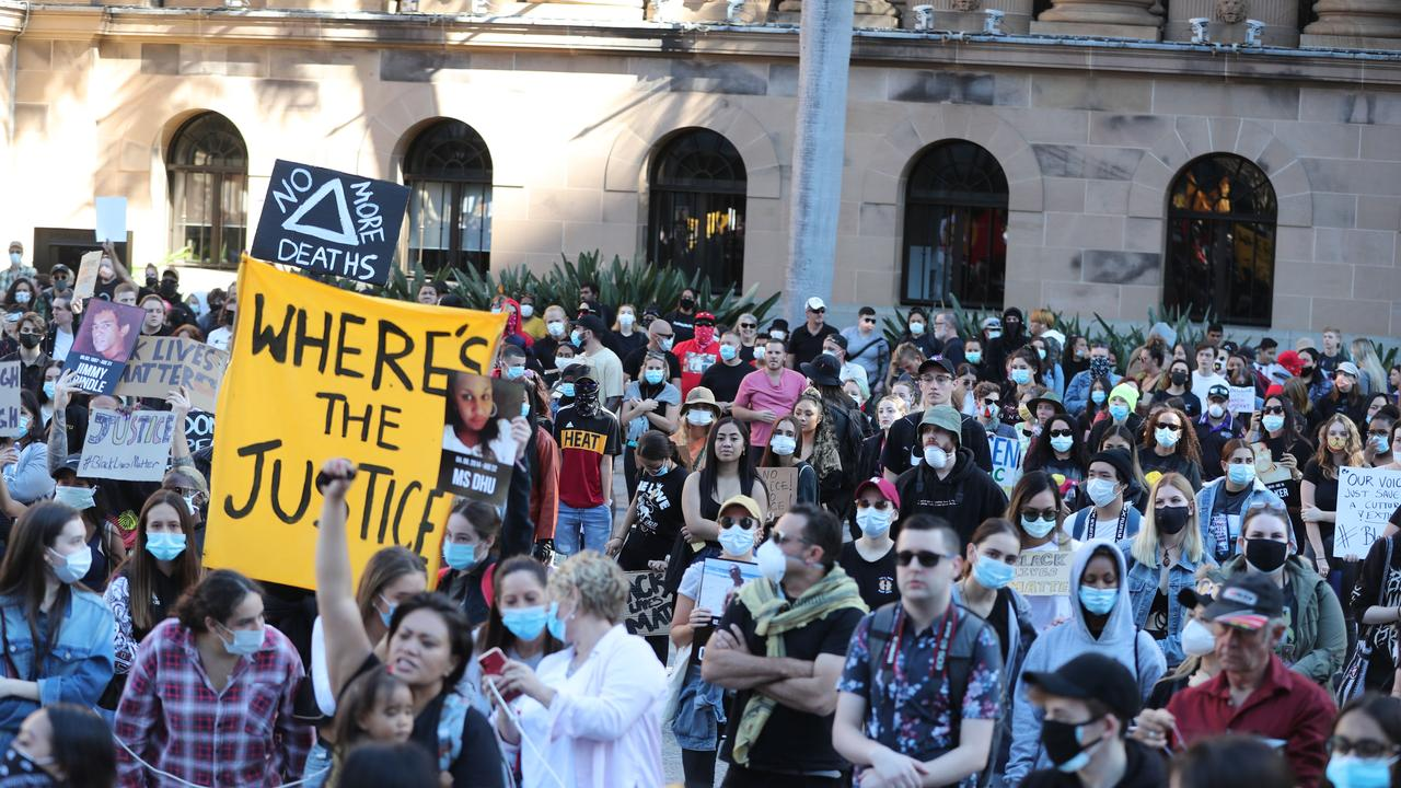 People gather for the Black Lives Matter rally in King George Square on Saturday. Picture: Peter Wallis