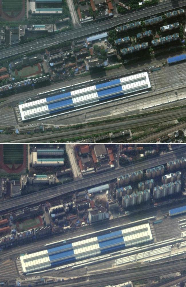 Pictures from March 5, 2020 by Maxar Technologies shows Wuhan Dongdamen Train Station in Wuhan, China, on October 17, 2019 (top) and on February 25, 2020, with trains parked in the station, during the novel coronavirus outbreak. Picture: Maxar Technologies