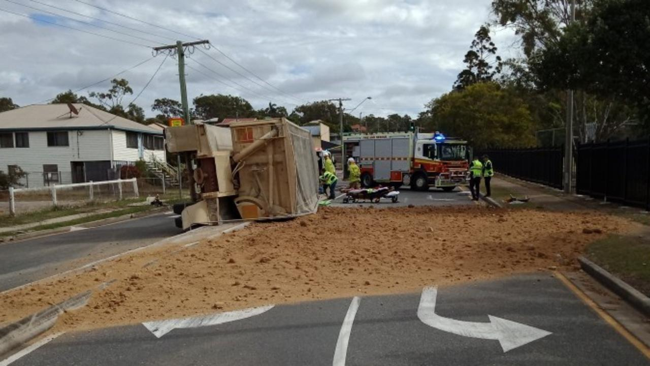 The scene of a truck rollover at Toolooa St and Derby St, Gladstone.