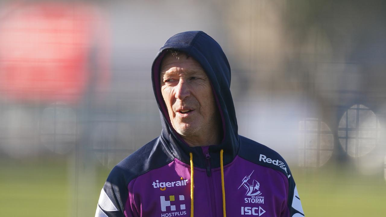 Craig Bellamy, coach of the Melbourne Storm looks on during a Melbourne Storm NRL training session at Goschs Paddock in Melbourne, Tuesday, June 9, 2020. (AAP Image/Scott Barbour) NO ARCHIVING