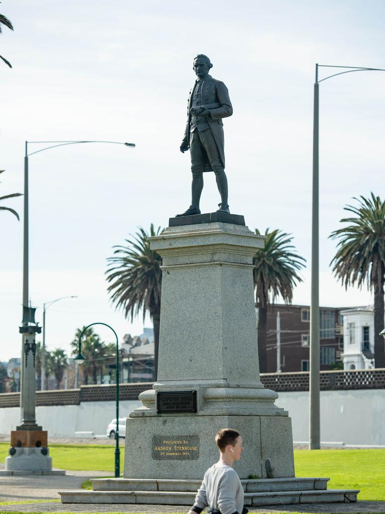 Captain Cook statue in St Kilda. Picture: Jason Edwards