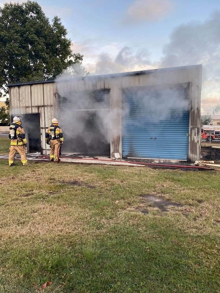 The machinery shed at Maryborough Softball Association was gutted by fire on Friday morning.