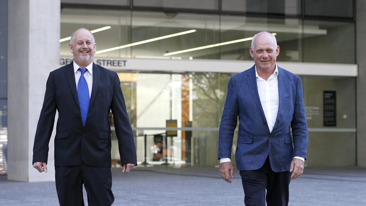 L to R, Bruce Judd from Coorparoo and Ian Bensted from Clayfield, are two members who were kicked out of Pacific Golf Club, Supreme Court, Brisbane City, Friday 12th June 2020 – Photo Steve Pohlner