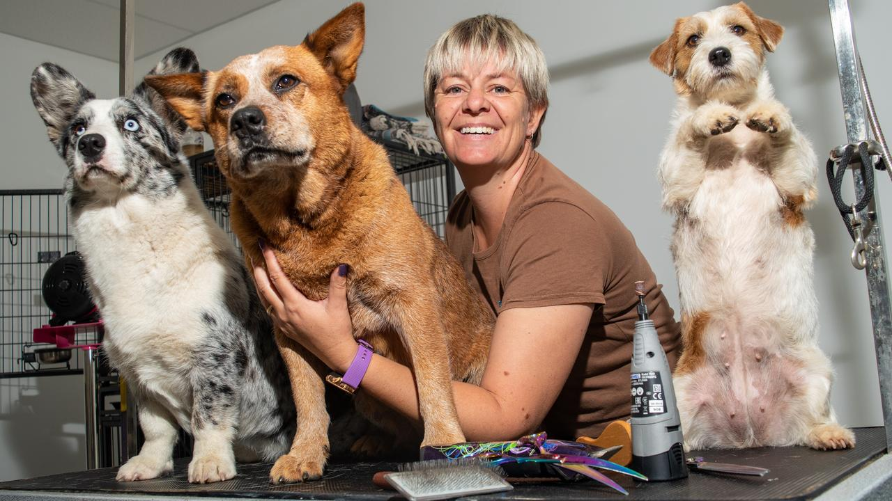 PAWFECT COMPANIONS: Fur Baby Boutique owner Corinne Chandler, with Hope, Magic and Storm. PHOTO: ALI KUCHEL