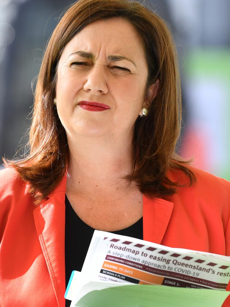 Queensland Premier Annastacia Palaszczuk, along with other state and territory premiers, have been given a deadline to set a border reopening date. Picture: Darren England/AAP