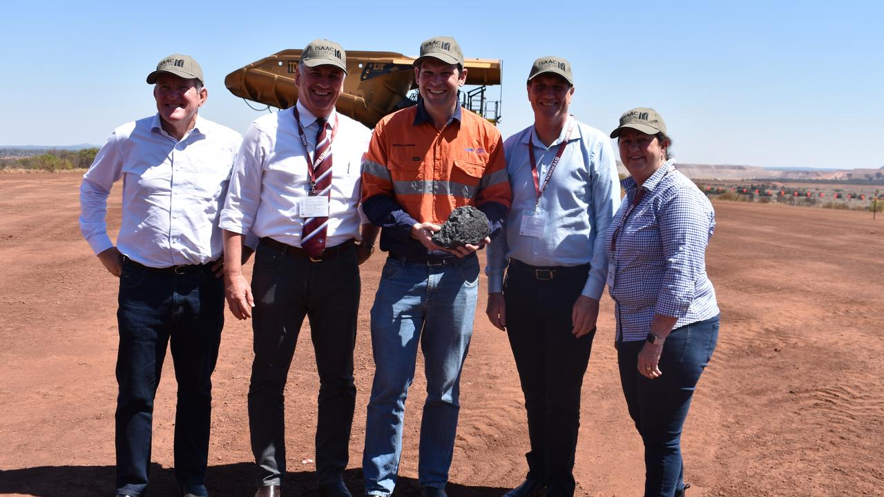 Queensland Resources Council chief executive Ian Macfarlane, Burdekin MP Dale Last, Resources Minister Matt Canavan, Mines Minister Dr Anthony Lynham and Isaac Mayor Anne Baker at the official opening of Byerwen mine.