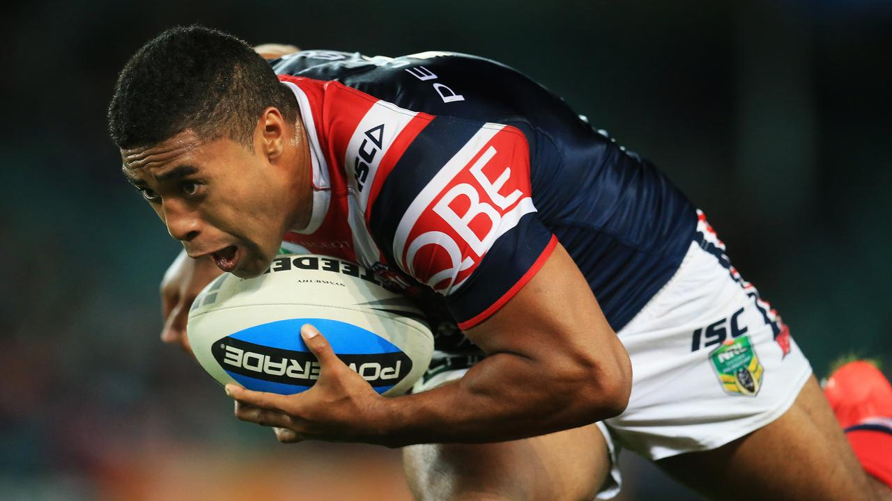 Michael Jennings celebrated a premiership win in his time with the Roosters.