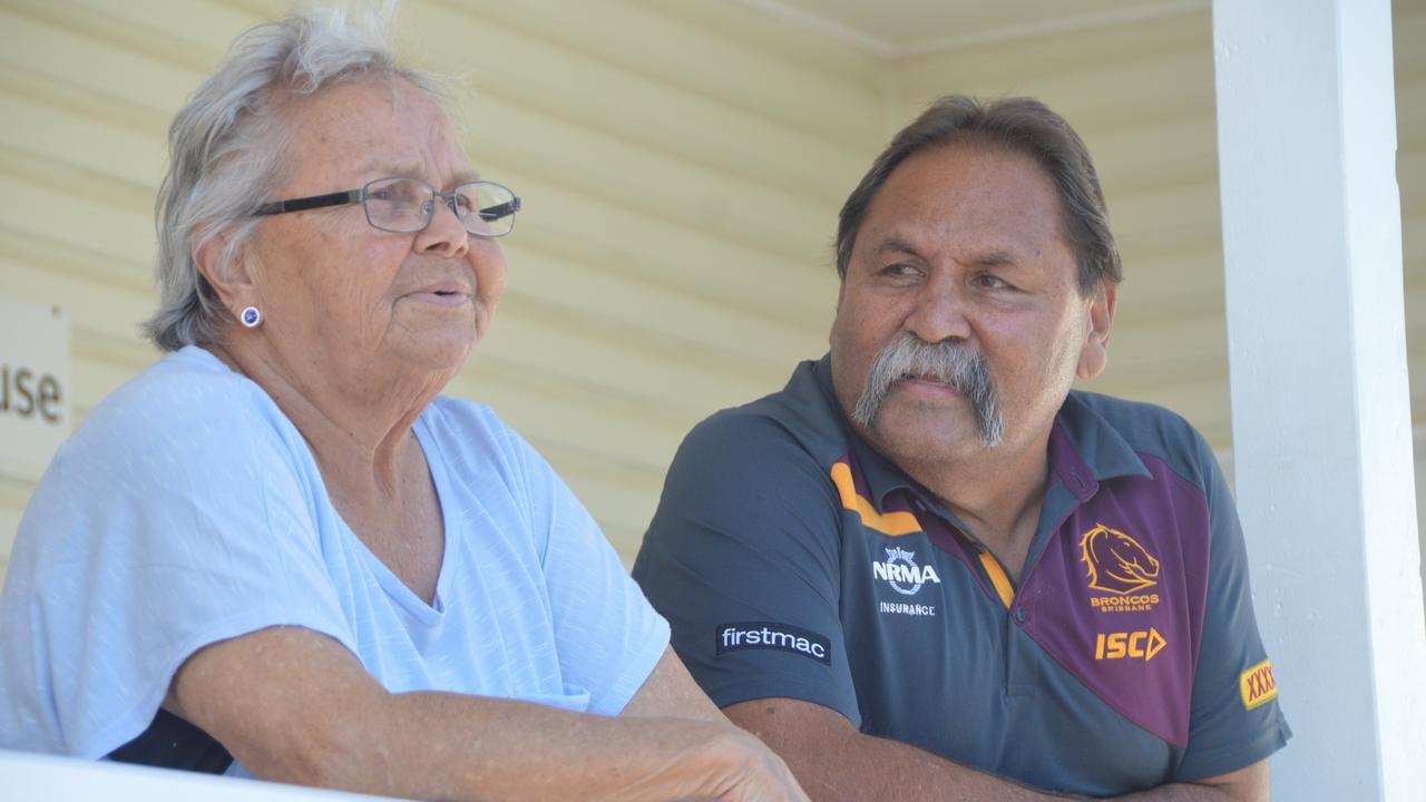 Cherbourg elders Lillian Gray and Bevan Costello at the Cherbourg courthouse. (Photo: FILE)