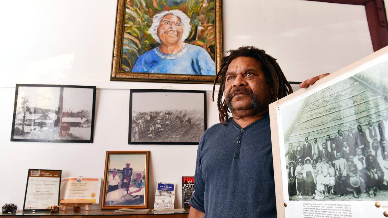 MADASSIA president Starrett Vea Vea in the artifact room at the South Sea Islander Hut. Picture: Tony Martin